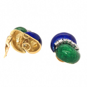 Carvin French Enamel and Diamond Jewelry Ensemble.