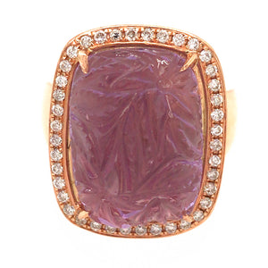 18k Rose Gold Carved Amethyst and Diamond Ring