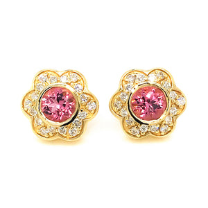 Estate 18K Yellow Gold Flower Pink Sapphire and Diamond Earrings