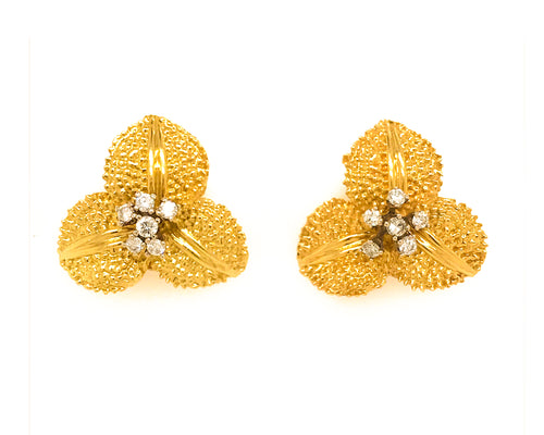Estate 18K Yellow Gold Flower Diamond Earrings