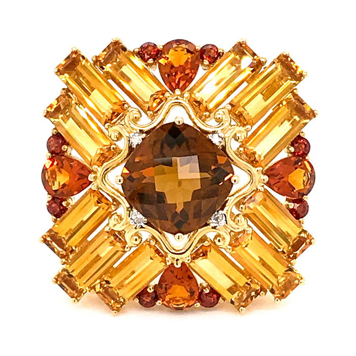Estate 14K Yellow Gold Madeira Citrine with Diamond Brooch/ Pendant