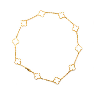 Van Cleef and Arpels 18K Yellow Gold 10 Motifs Mother of Pearl Vintage Alhambra Necklace
