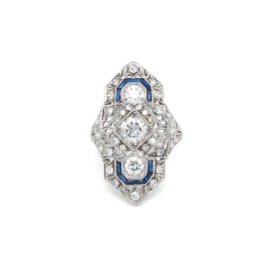 Estate Platinum Diamond and Synthetic Sapphire Filigree Style Ring