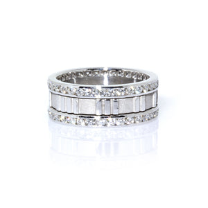 Tiffany & Co. 18K White Gold Atlas Roman Numeral Diamond Ring