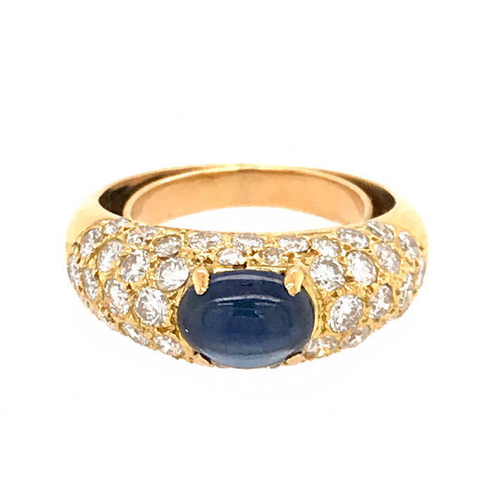 18k Yellow Gold Pave Diamond and Sapphire Cabochon Ring