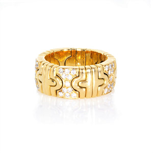 Bvlgari 18 Karat Yellow Gold Flexible Parentesi Diamond Ring