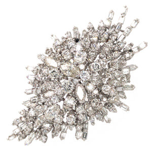 14k White Gold Diamond Brooch