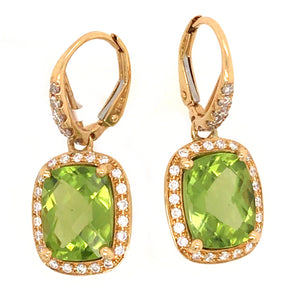 18k Yellow Gold Diamond and Perdidot Drop Earrings