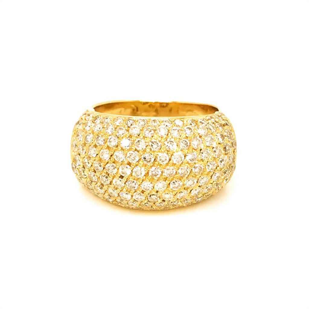 Estate 18K Yellow Gold Diamond Bombe Style Ring
