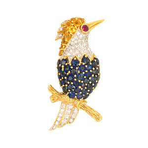 Estate 18K Yellow Gold Sapphire and Diamond Woodpecker Pin