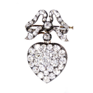 Estate Antique Diamond Heart Locket Pin