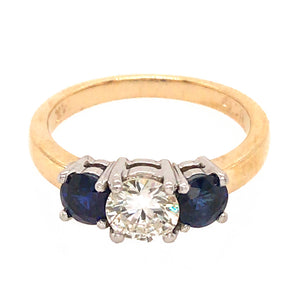 14k Two-Tone Gold Diamond and Sapphire Engagement Ring