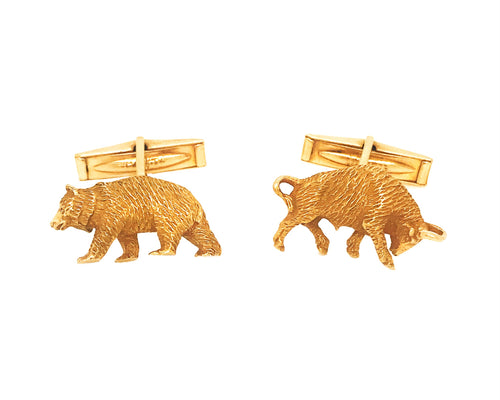 14k Yellow Gold Bull and Bears Cufflinks