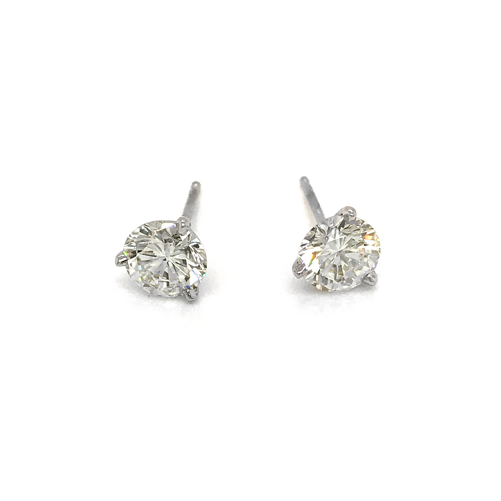 Classic 14k White Gold 1.60ct Diamond Stud Earrings