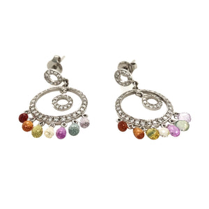 Lauren K Double Circle Diamond with Multi-color Sapphire Briolettes Earrings