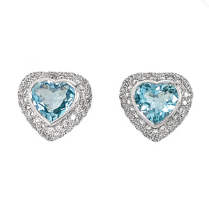 18k White Gold Diamond and Aquamarine Heart Earrings