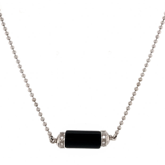18k White Gold Onyx and Diamond Barrel Pendant Necklace