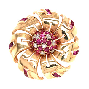 Tiffany and Co. Ruby and Diamond Pinwheel Brooch