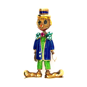 Estate 18K Yellow Gold Antique Enamel Clown Pin