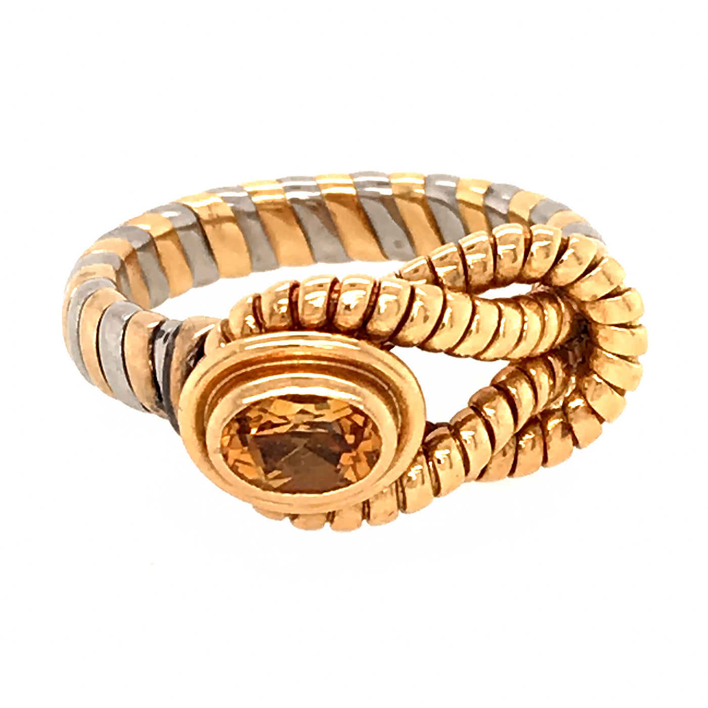 Cartier Rare Two Tone Gold With Citrine Hercules Knot Ring Fabon5th Com