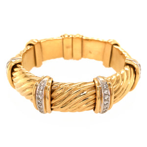 Bulgari 18k Yellow Gold Diamond Cuff Vintage Bracelet