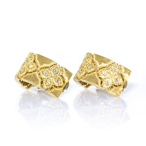 Estate Roberto Coin 18K White & Yellow Gold Venetian Princess Diamond Earrings