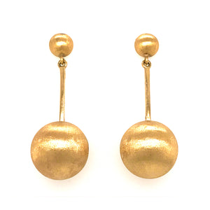 Estate 14K Yellow Gold Ball Dangle Earrings