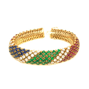 Estate 18k Yellow Gold Barber Pole Diamond, Ruby,Emerald and Sapphire Bracelet