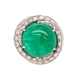 Platinum Cabochon Emerald and Diamond Ring