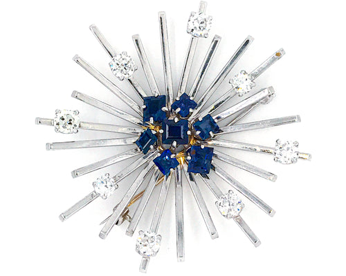 Estate Platinum Sapphire and Diamond Brooch