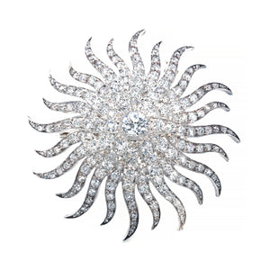 Beautiful 14K White Gold Antique Sunburst Old Mine Cut Diamond Brooch