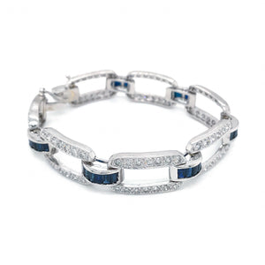 Estate Platinum Diamond and Sapphire Bracelet