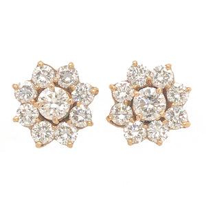 Charming 14k Yellow Gold Diamond Floral Stud Earrings