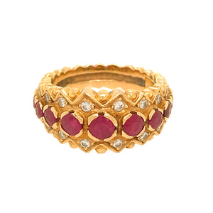 Zolotas 18k Yellow Gold Ruby and Diamond Ring