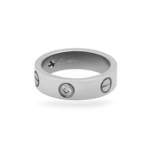 Cartier 18K White Gold 3 Diamonds Love Ring Size: 6.75