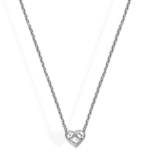 Bvlgari 18K White Gold Diamond Heart Necklace Length: 16.75