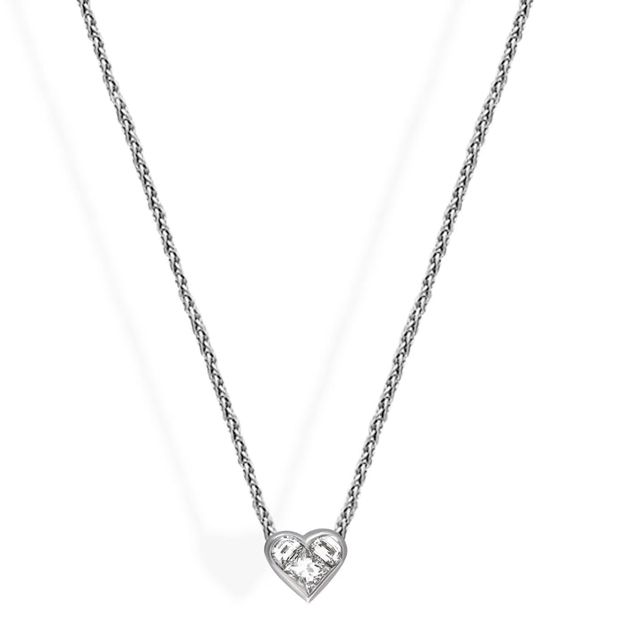 Bvlgari 18K White Gold Diamond Heart Necklace Length 16.75 inches