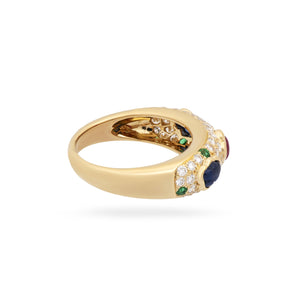 Cartier 18K Yellow Gold Diamond, Sapphire, Ruby and Emerald Cluster Ring Size: 6