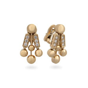 Bvlgari 18K Yellow Gold Diamond Bar Earrings