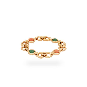 Van Cleef & Arples 18K Yellow Gold Coral & Green Jade Heart & Love Bracelet Length: 7""