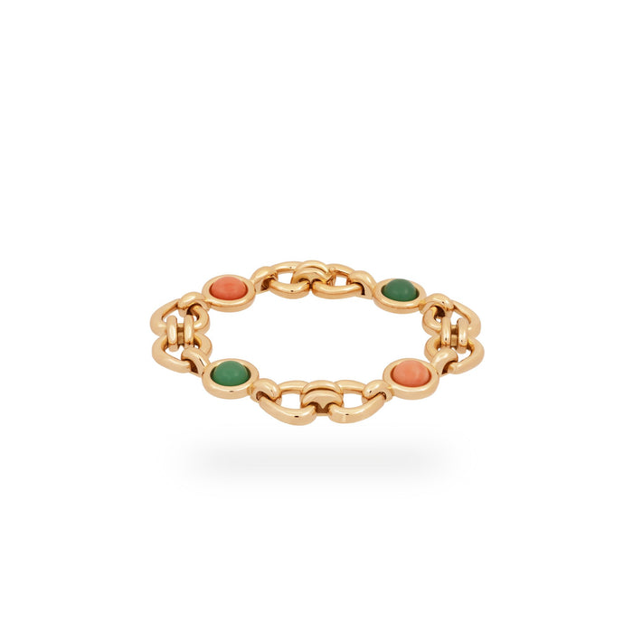 Van Cleef & Arpels 18K Yellow Gold Coral & Green Jade Heart & Love Bracelet Length 7 inches