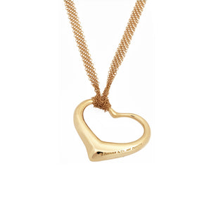 Tiffany & Co 18K Yellow Gold  Elsa Perreti Open Heart  Necklace Length: 24""