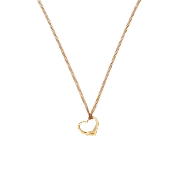 Tiffany & Co 18K Yellow Gold  Elsa Perretti Open Heart  Necklace