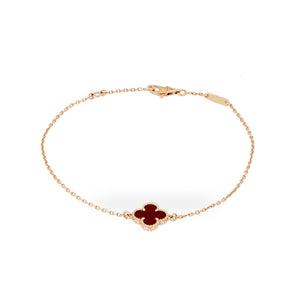 Van Cleef & Arples 18K Yellow Gold Carnelian Alahambra Bracelet Length: 7""