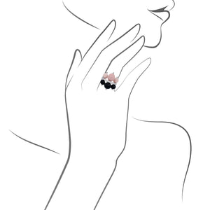 Cartier 18K Yellow Gold Diamond, Onyx, Ruby & Coral Ring Size: 6.75
