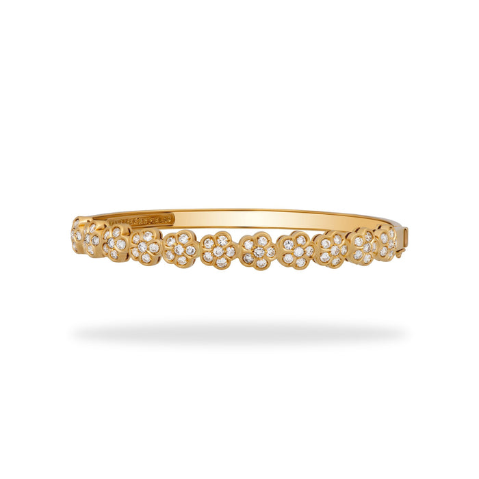 Van Cleef and Arpels 18K Yellow Gold Diamond Trefle Bracelet Length 6.5 inches