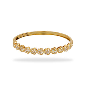 Van Cleef & Arples 18K Yellow Gold Diamond Trefle Bracelet Length: 6.5""