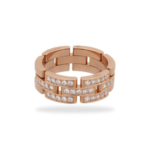 Cartier 18K Rose Gold Maillon Panthere Diamond Ring Size: 9