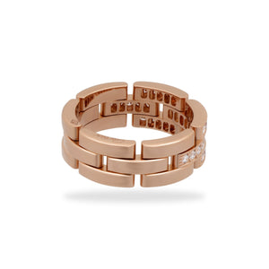 Cartier 18K Rose Gold Maillon Panthere Diamond Ring Size 9