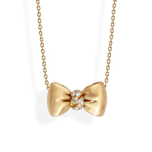 Van Cleef & Arples 18K Yellow Gold Diamond Bow Necklace Length: 17:""
